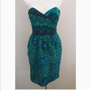 Emerald and Black Cocktail Dress 100% Silk